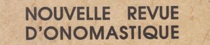 Image result for Nouvelle Revue d'Onomastique